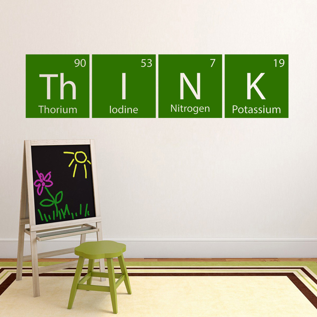 "Think Periodic Table Wall Decal 60"" wide x 14.5"" tall Sample Image"