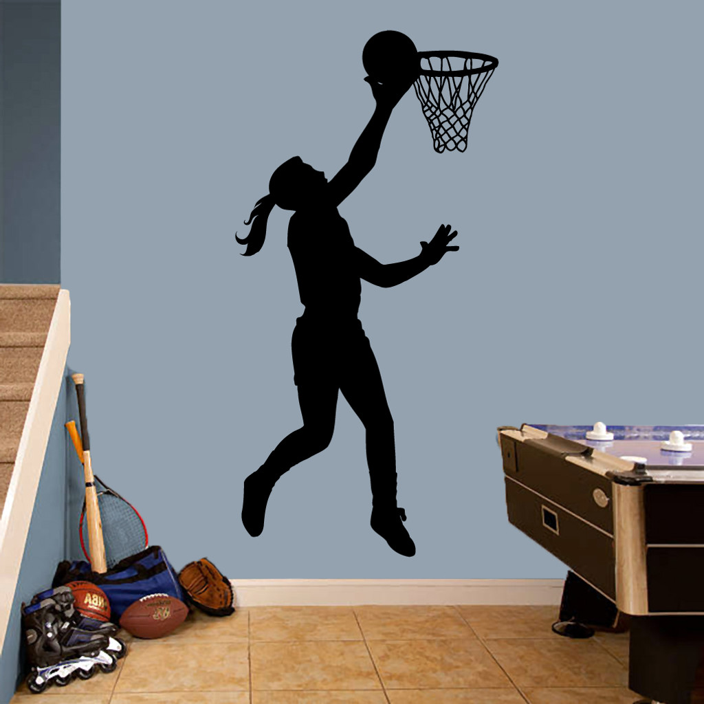 "Basketball Girl Layup Wall Decals 36"" wide x 72"" tall Sample Image"