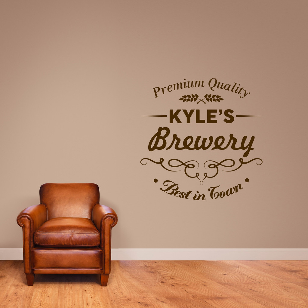 "Custom Brewery Bar Wall Decal 36"" wide x 36"" tall Sample Image"