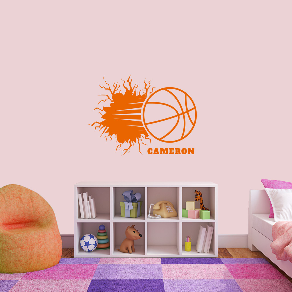 "Custom Basketball Breaking Wall Wall Decal 36"" wide x 27"" tall Sample Image"
