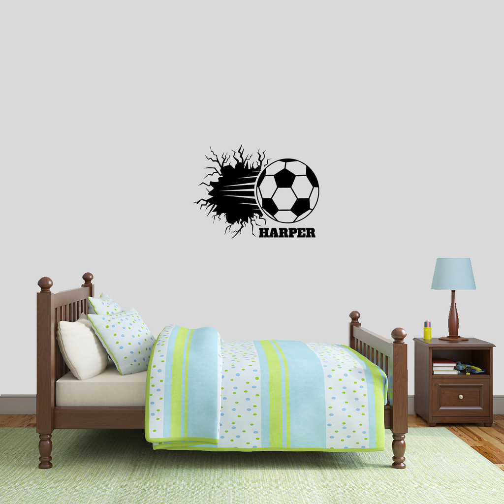 "Custom Soccer Ball Breaking Through Wall Wall Decal 24"" wide x 18"" tall Sample Image"
