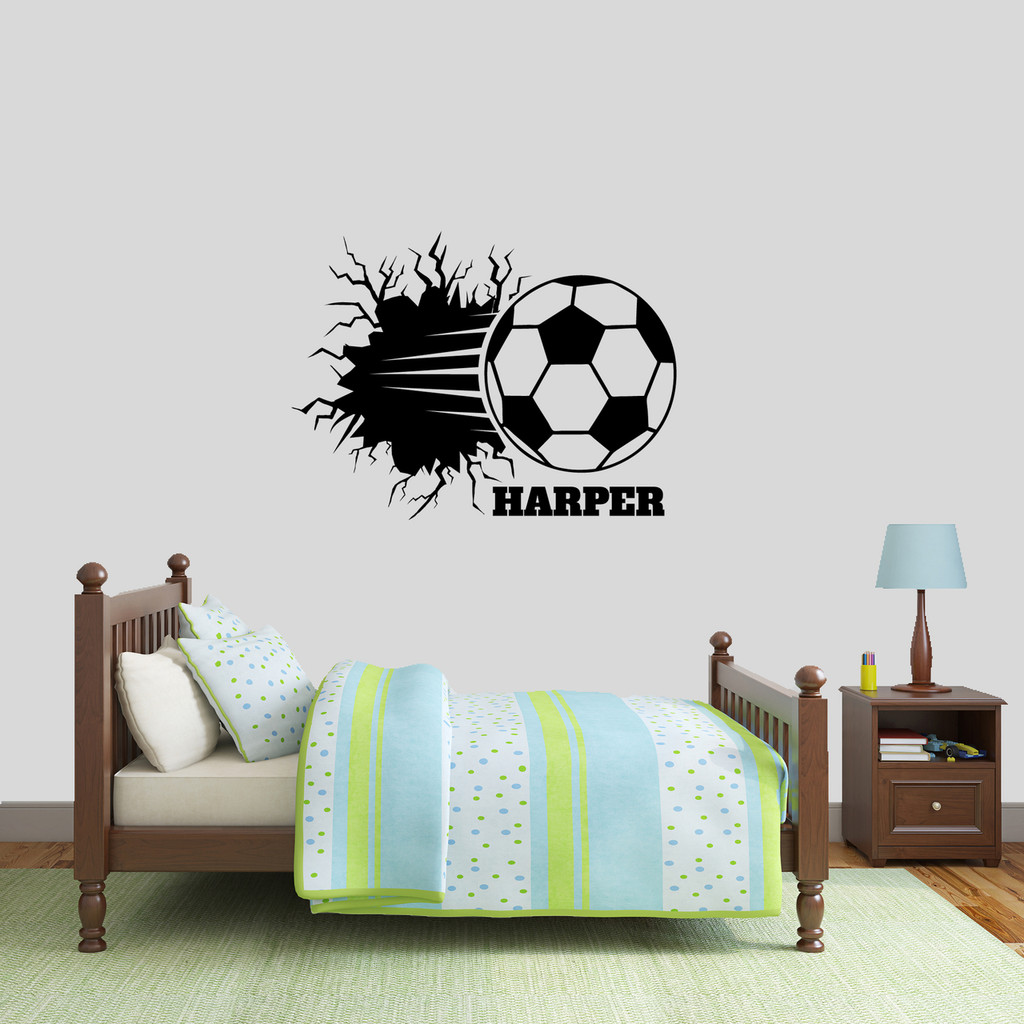 "Custom Soccer Ball Breaking Through Wall Wall Decal 36"" wide x 27"" tall Sample Image"