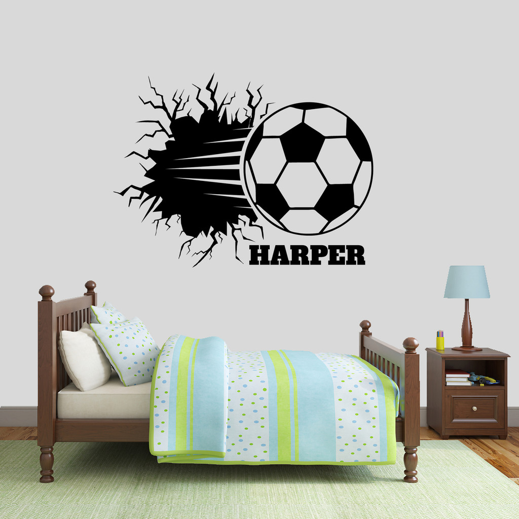 "Custom Soccer Ball Breaking Through Wall Wall Decal 48"" wide x 36"" tall Sample Image"