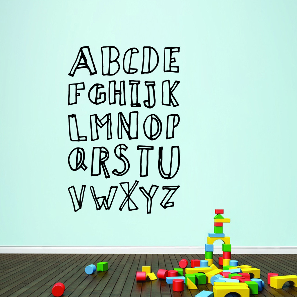 "Alphabet Doodle Wall Decals 40"" wide x 60"" tall Sample Image"
