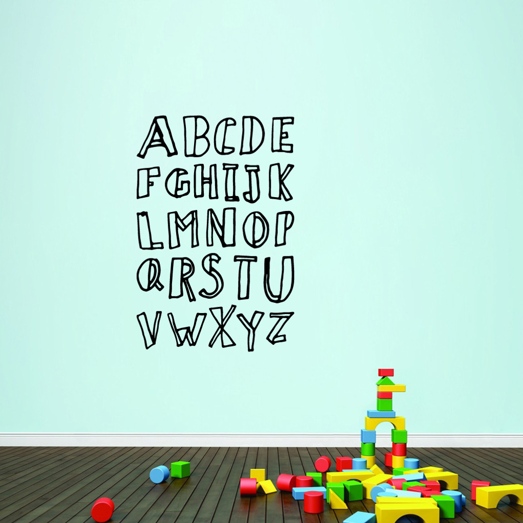 "Alphabet Doodle Wall Decals 32"" wide x 48"" tall Sample Image"