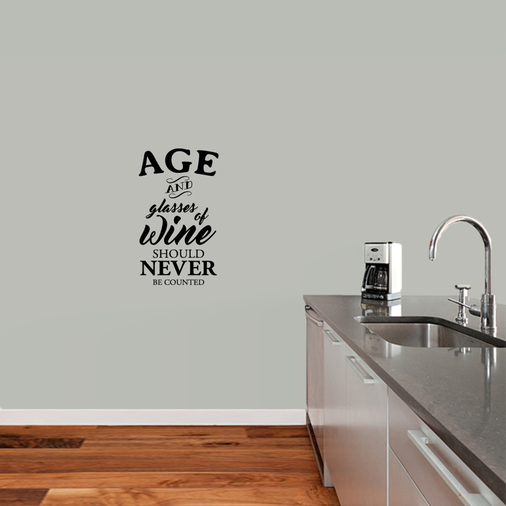 """Age And Glasses Of Wine Wall Decal 14"""" wide x 24"""" tall Sample Image"""