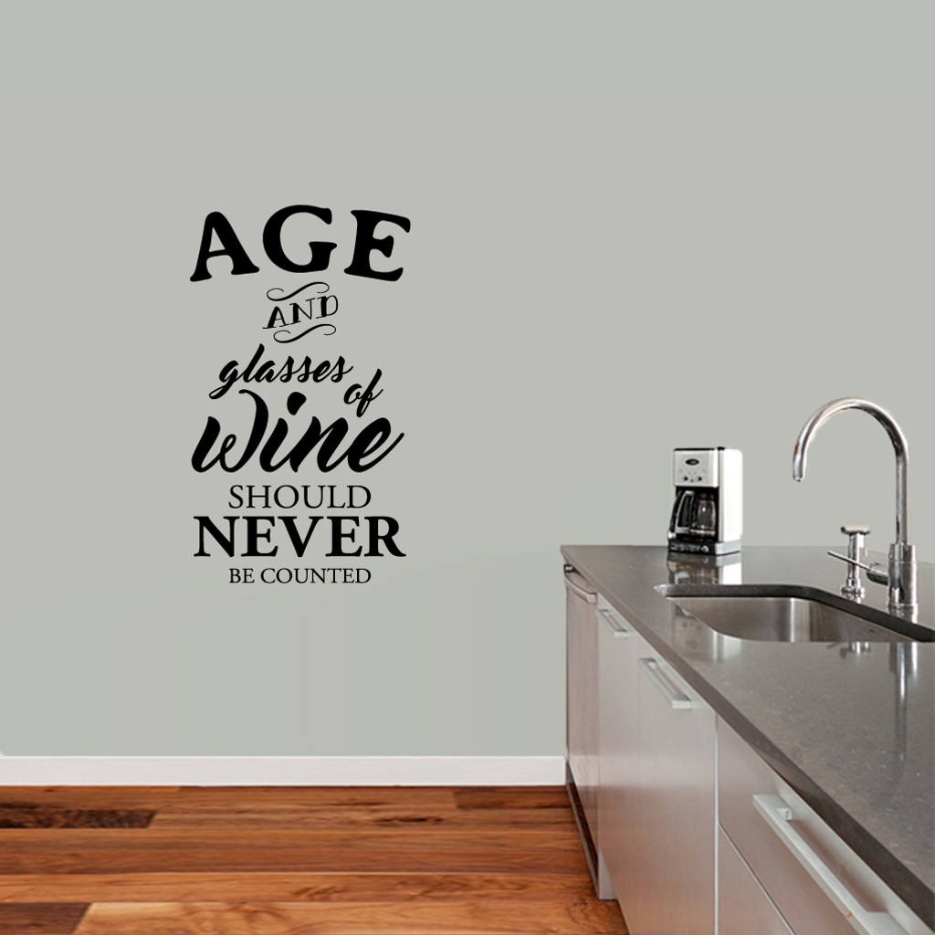 """Age And Glasses Of Wine Wall Decal 21"""" wide x 36"""" tall Sample Image"""