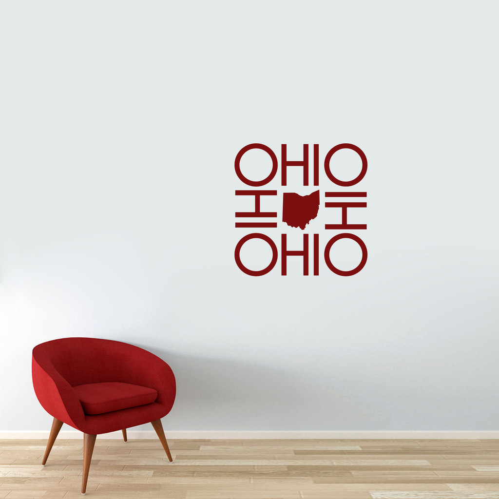 "OHIO OHIO OHIO OHIO Wall Decal 22"" wide x 22"" tall Sample Image"