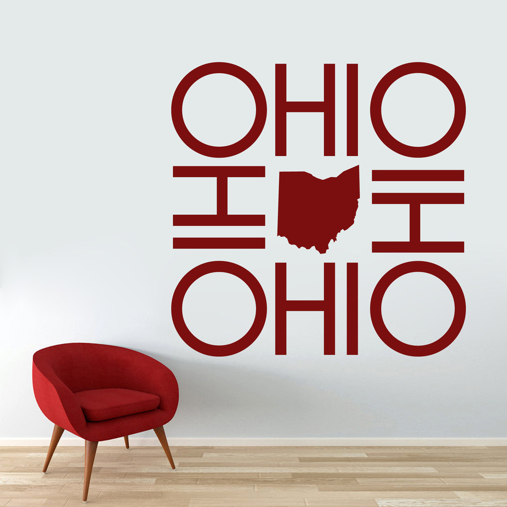 "OHIO OHIO OHIO OHIO Wall Decal 48"" wide x 48"" tall Sample Image"