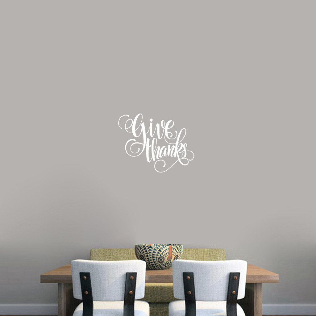 "Give Thanks Script Wall Decal 18"" wide x 14"" tall Sample Image"