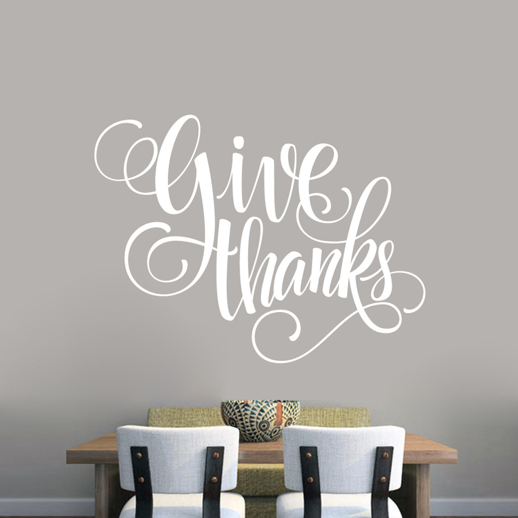 "Give Thanks Script Wall Decal 48"" wide x 36"" tall Sample Image"