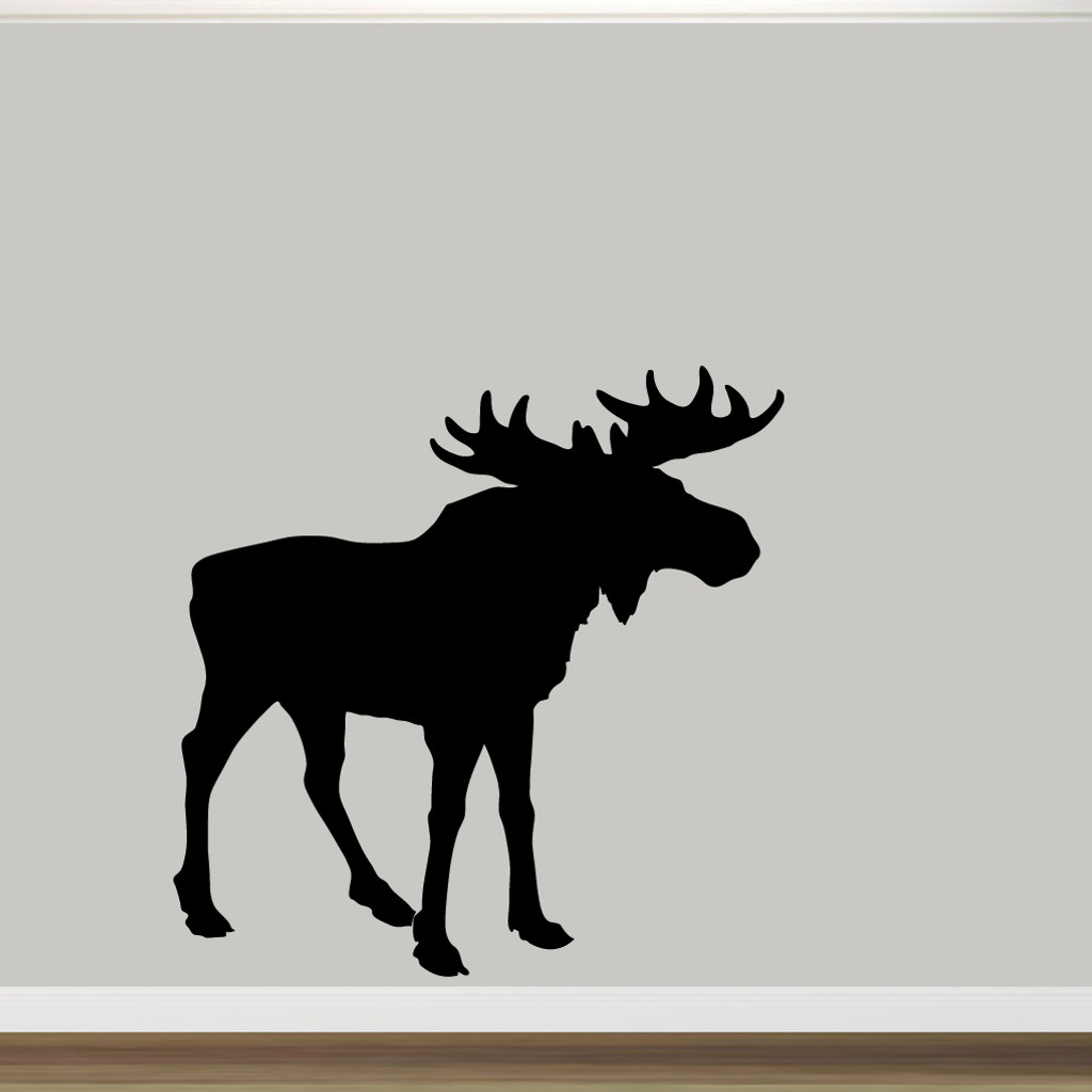 "Moose Silhouette Wall Decal 60"" wide x 60"" tall Sample Image"
