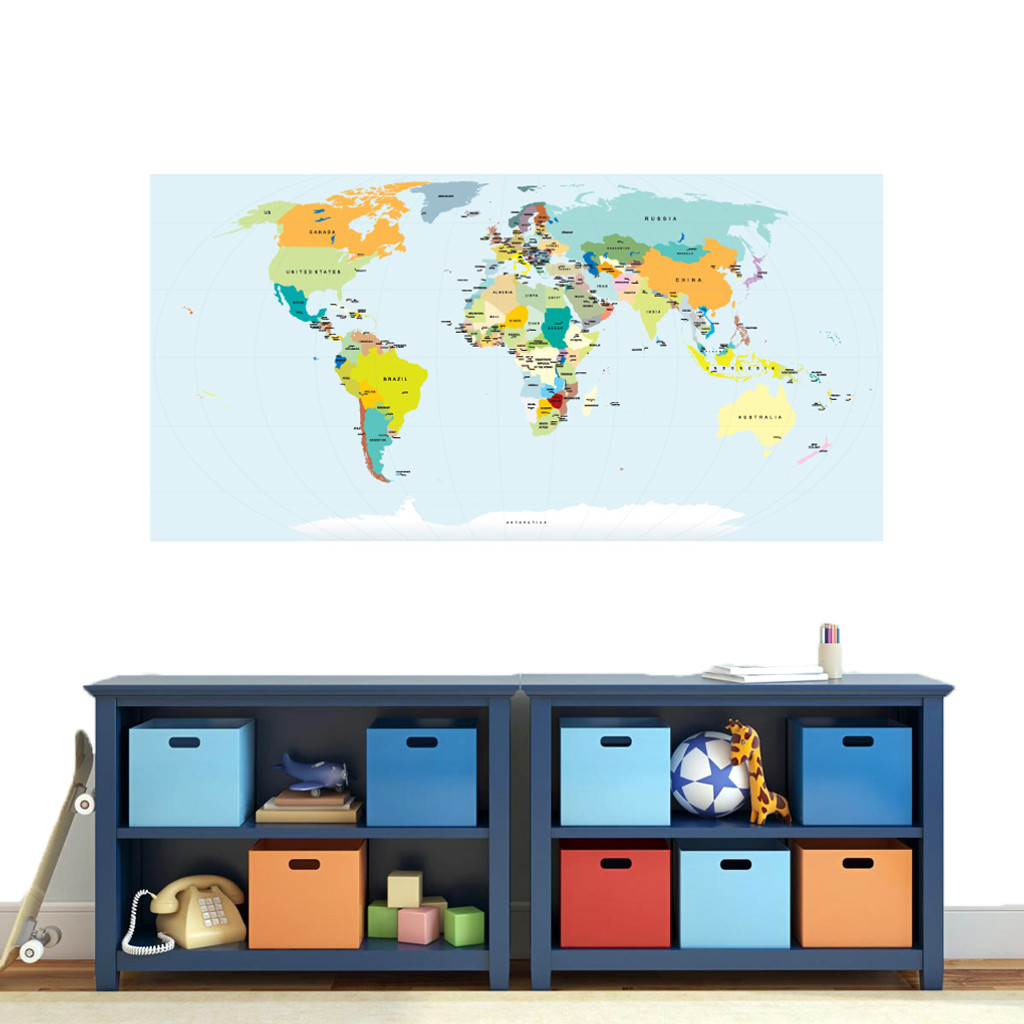 """World Map Atlas Printed Wall Decal 60"""" wide x 30"""" tall Sample Image"""