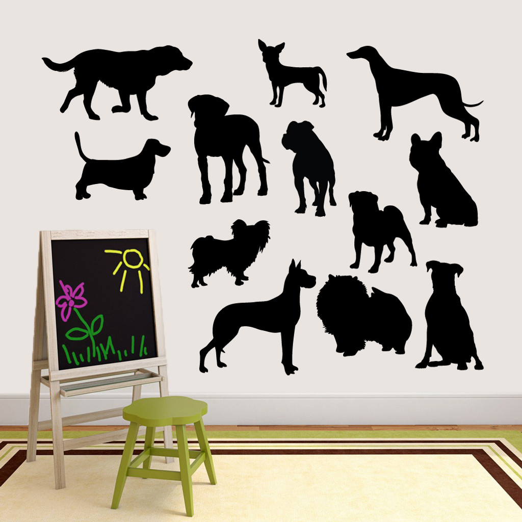 Dog Silhouettes Wall Decals Large Sample Image
