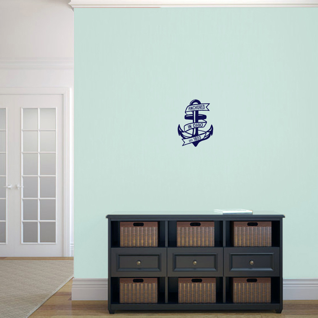 "Anchored In Ohio Wall Decal 9"" wide x 12"" tall Sample Image"