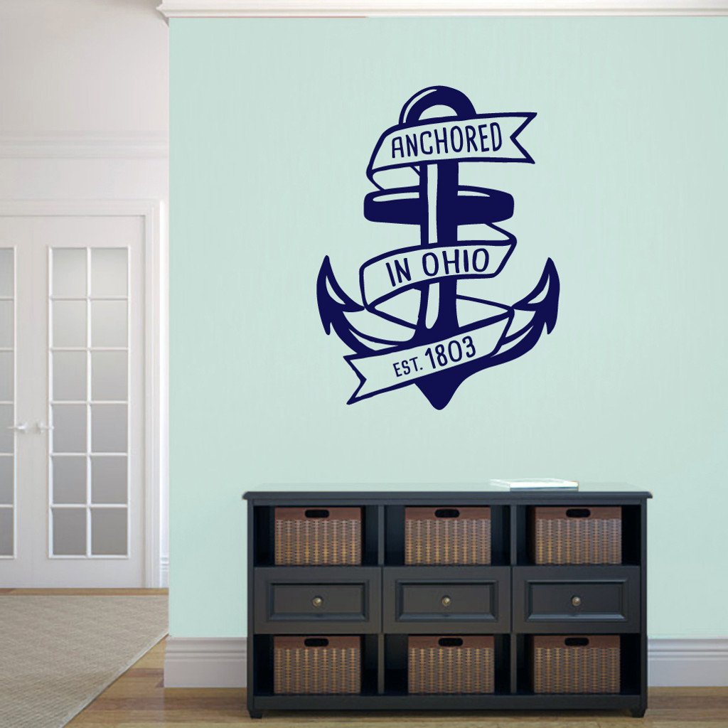 "Anchored In Ohio Wall Decal 27"" wide x 36"" tall Sample Image"