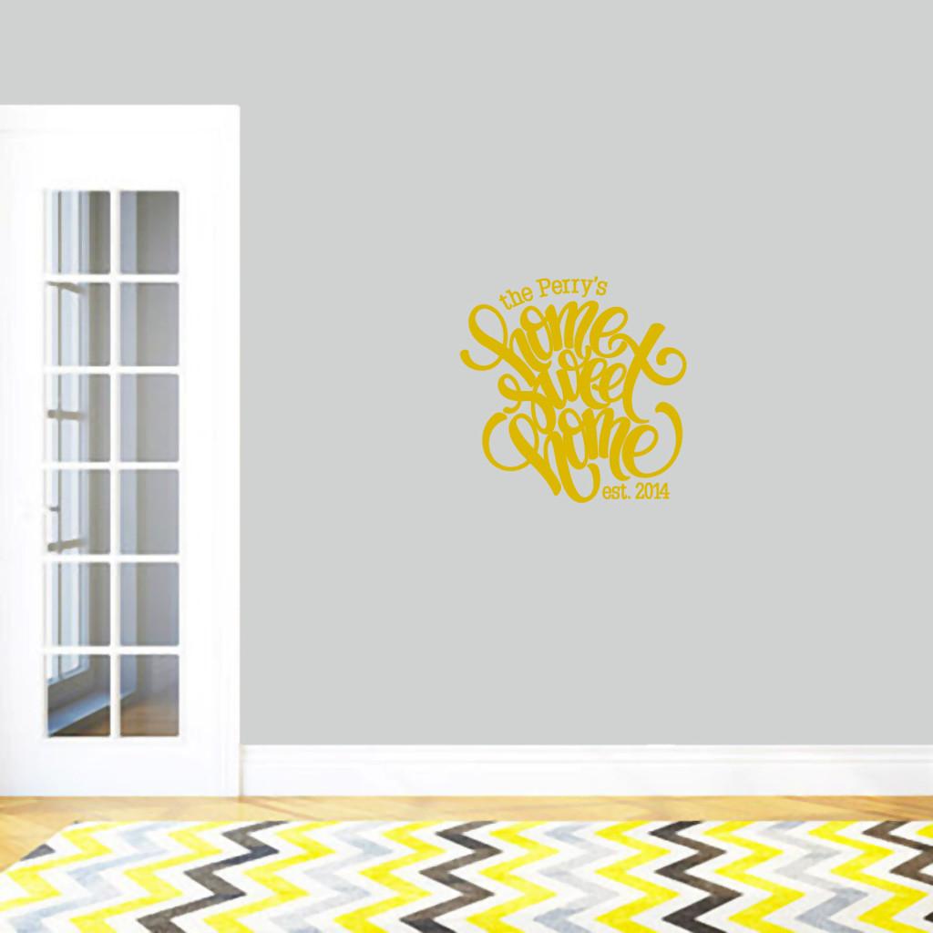 "Custom Home Sweet Home Wall Decal 22"" wide x 22"" tall Sample Image"