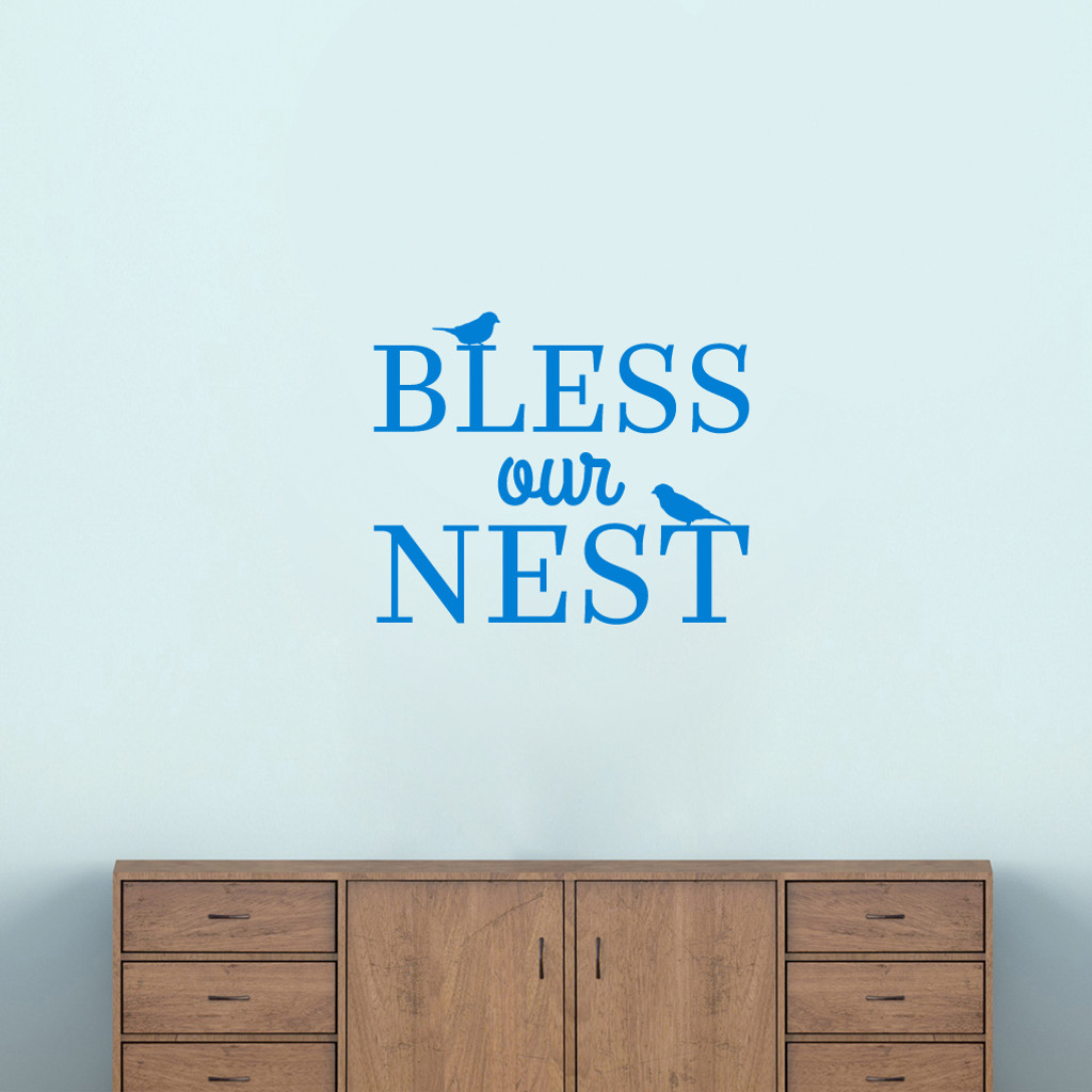 "Bless Our Nest Wall Decal 24"" wide x 20"" tall Sample Image"