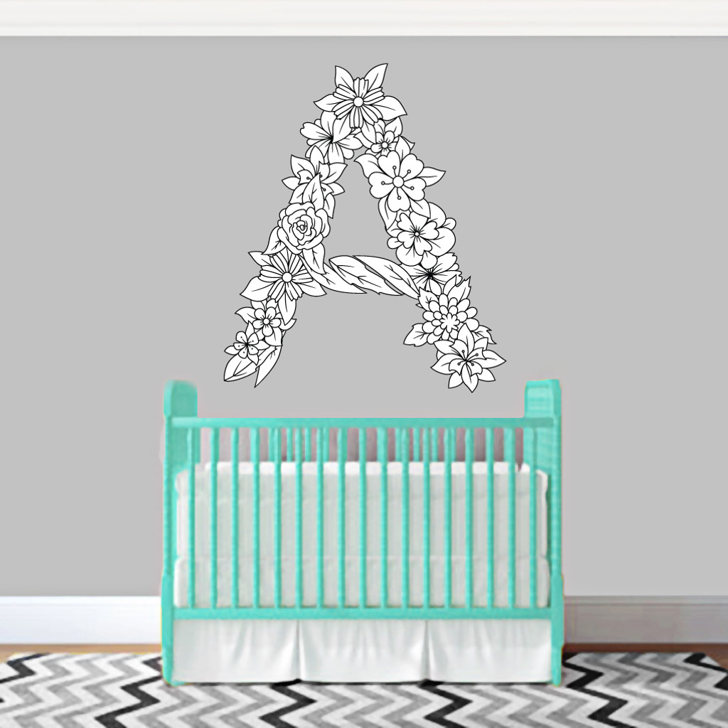 """Custom Floral Monogram Printed Wall Decals 36"""" wide x 36"""" tall Sample Image"""