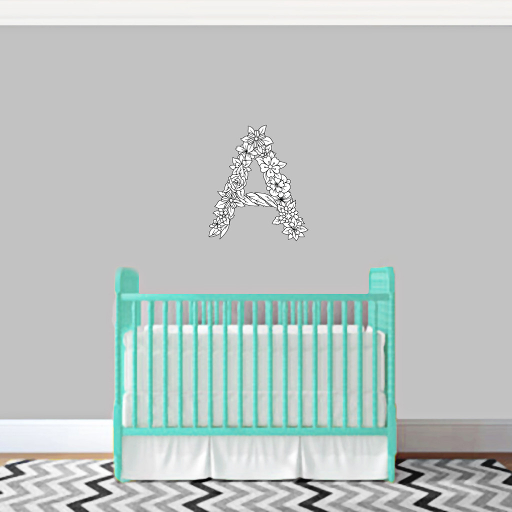 """Custom Floral Monogram Printed Wall Decals 18"""" wide x 18"""" tall Sample Image"""