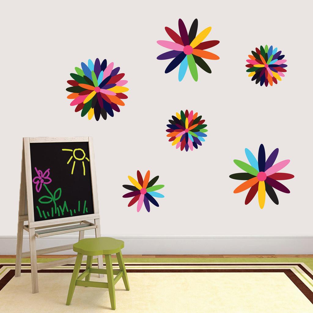 Rainbow Flowers Printed Wall Decals Sample Image