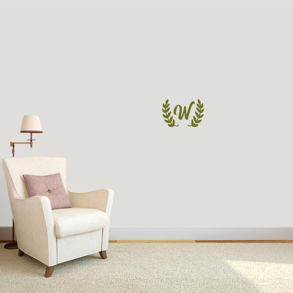 "Custom Olive Branch Wreath Monogram Wall Decal 12"" wide x 8"" tall Sample Image"