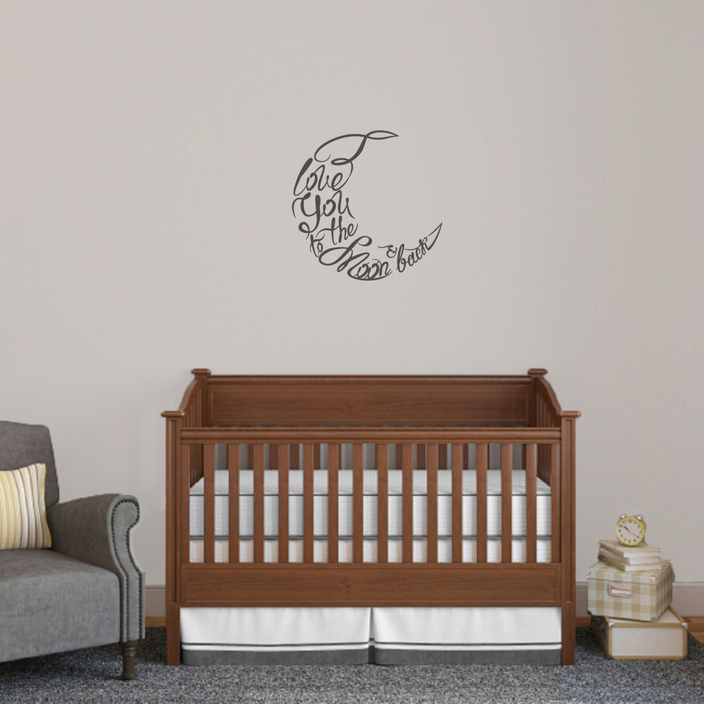 """I Love You To The Moon And Back Script Wall Decal 18"""" wide x 218"""" tall Sample Image"""