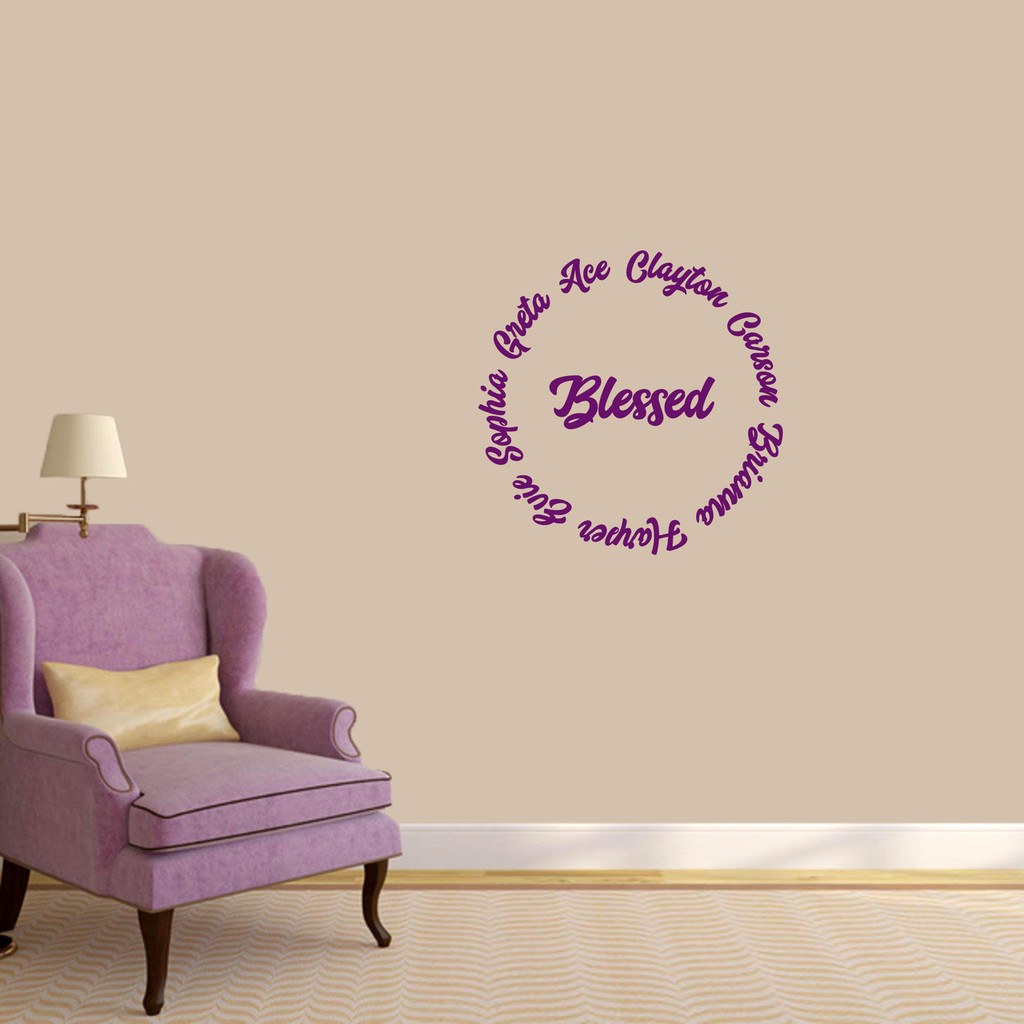 "Custom Names Blessed Wall Decal 22"" wide x 22"" tall Sample Image"