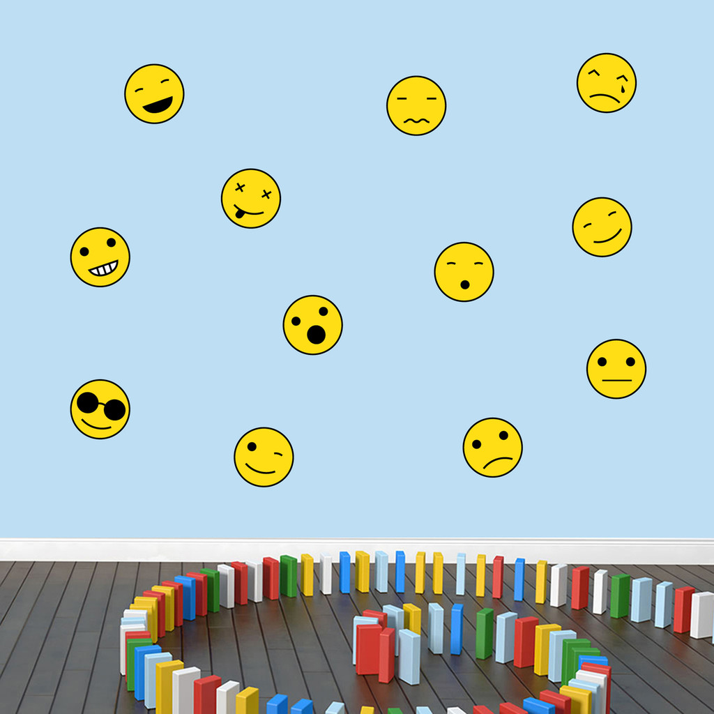 Emoji Smiley Faces Printed Wall Decals Small Sample Image