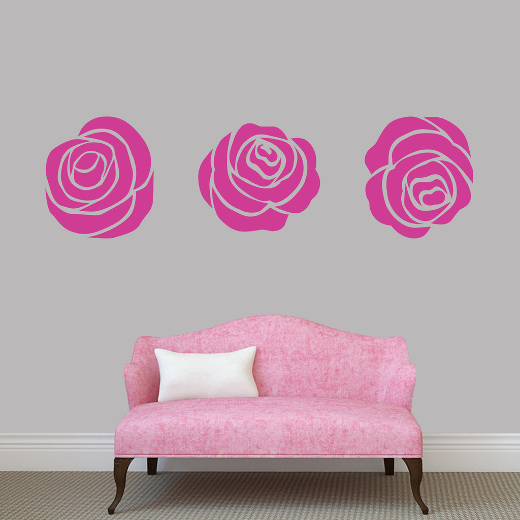 Set Of Roses Wall Decals Large Sample Image