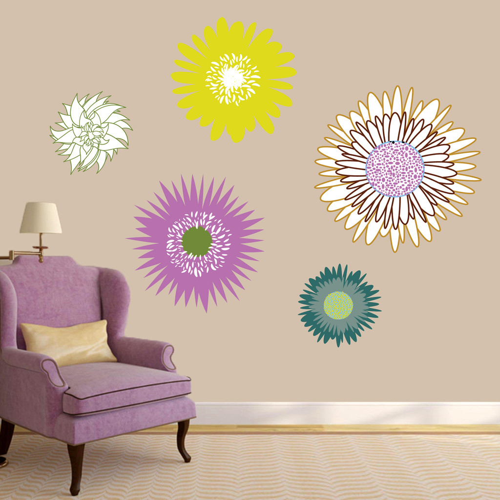 Wildflowers Printed Wall Decal Large Sample Image