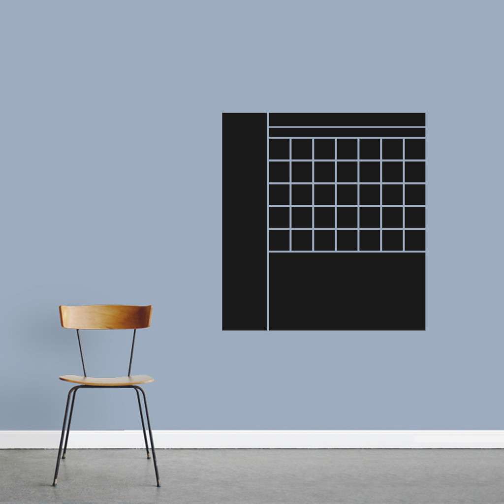 """Chalkboard Calendar With Notes Wall Decals 28"""" wide x 30"""" tall Sample Image"""