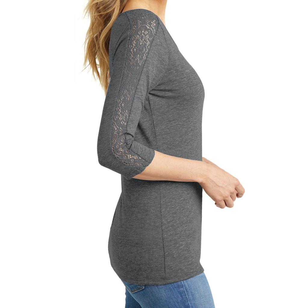 Grey Heather Wine Ohio Women's 3/4 Length Lace Sleeve T-Shirt Lace