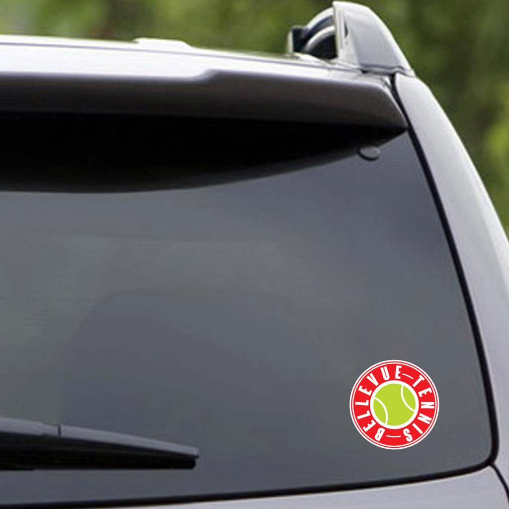 "Printed Bellevue Tennis Vehicle Decal 3"" wide x 3"" tall Sample Image"