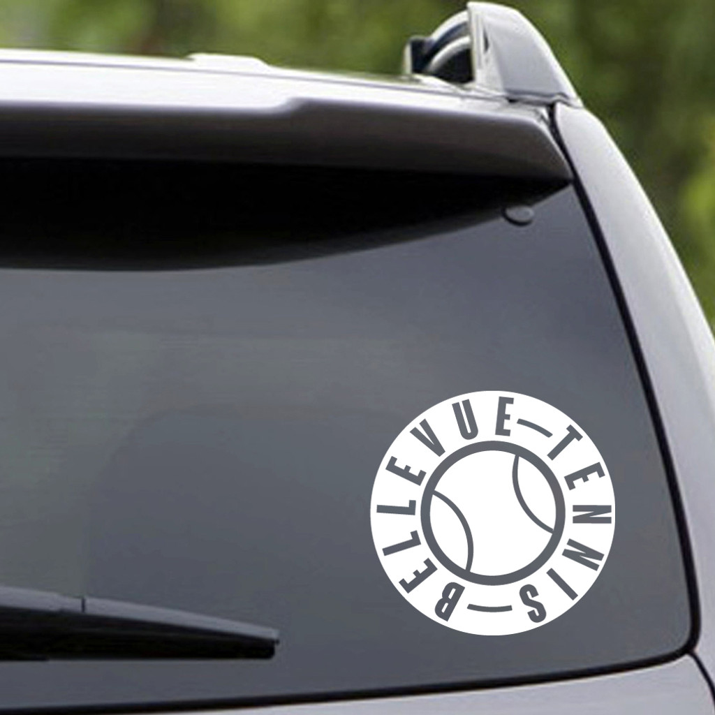 "White Bellevue Tennis Vehicle Decal 6"" wide x 6"" tall Sample Image"