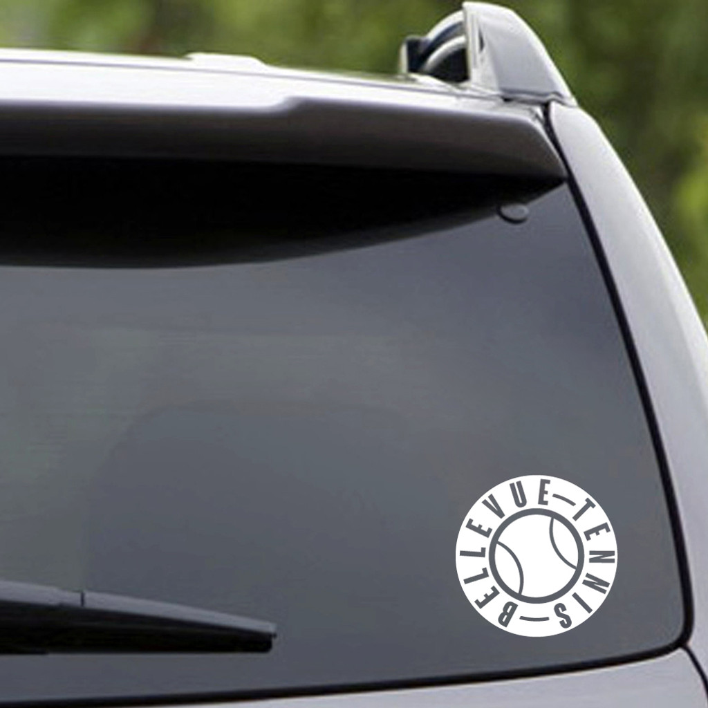 "White Bellevue Tennis Vehicle Decal 4"" wide x 4"" tall Sample Image"
