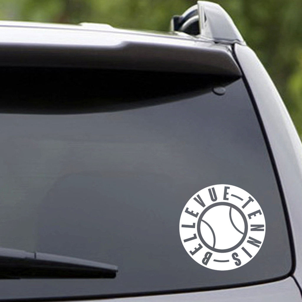 "White Bellevue Tennis Vehicle Decal 5"" wide x 5"" tall Sample Image"