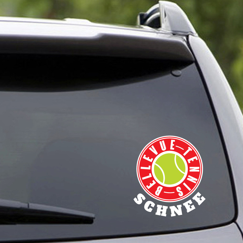 Custom Name Printed Bellevue Tennis Vehicle Decal Sample Image