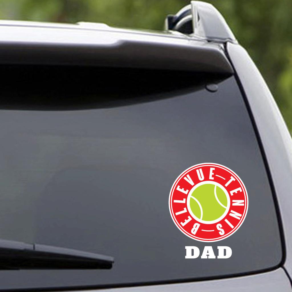 Printed Bellevue Tennis Dad Vehicle Decal Sample Image
