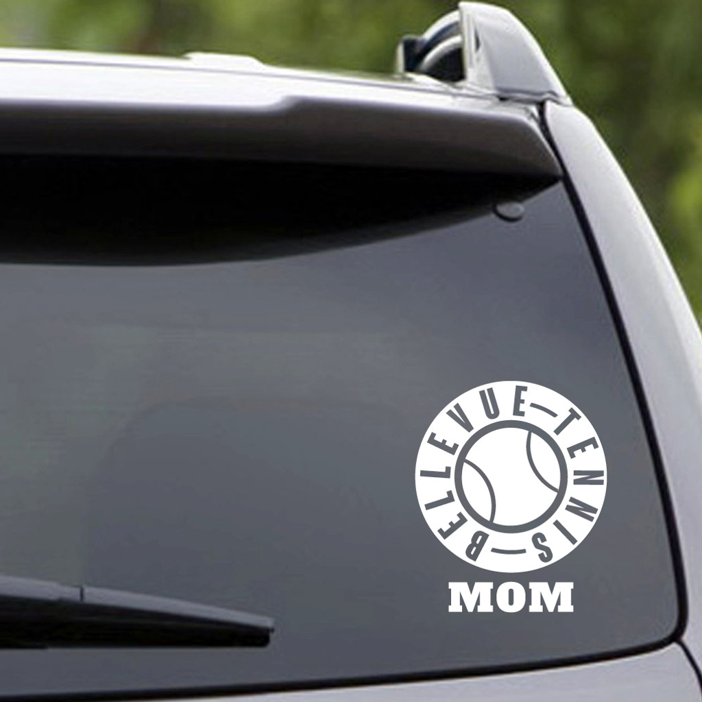 White Bellevue Tennis Mom Vehicle Decal Sample Image