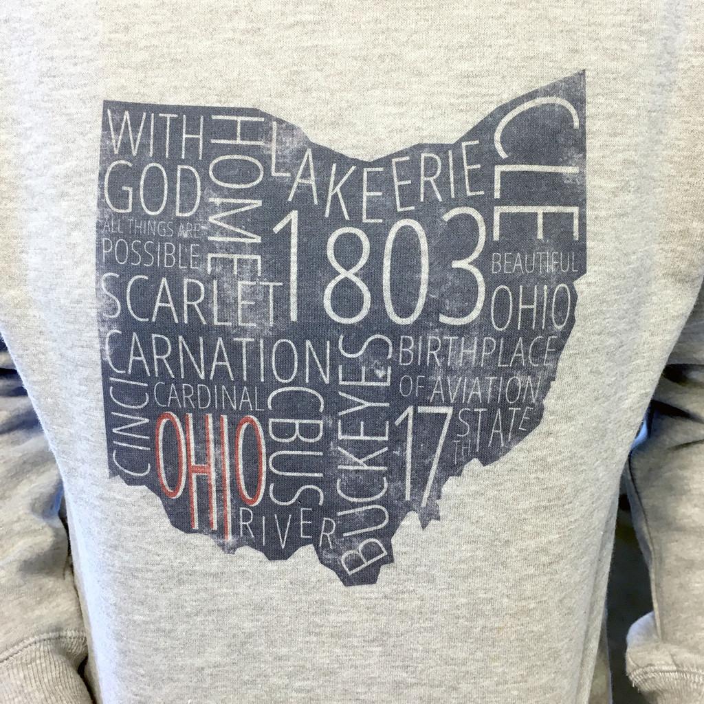 Ohio Facts Cowl Neck Lightweight Fleece Hoodie
