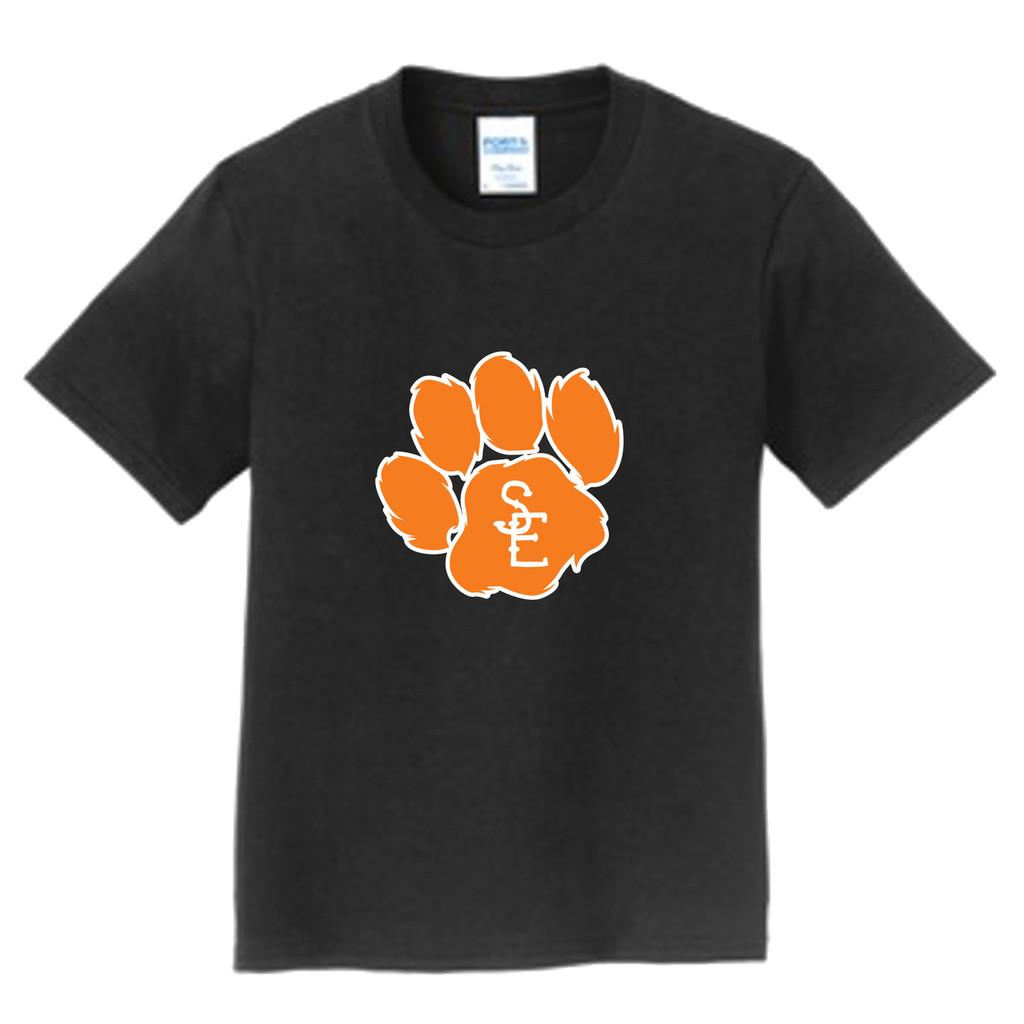 Black Seneca East Paw Print Youth Unisex T-Shirt