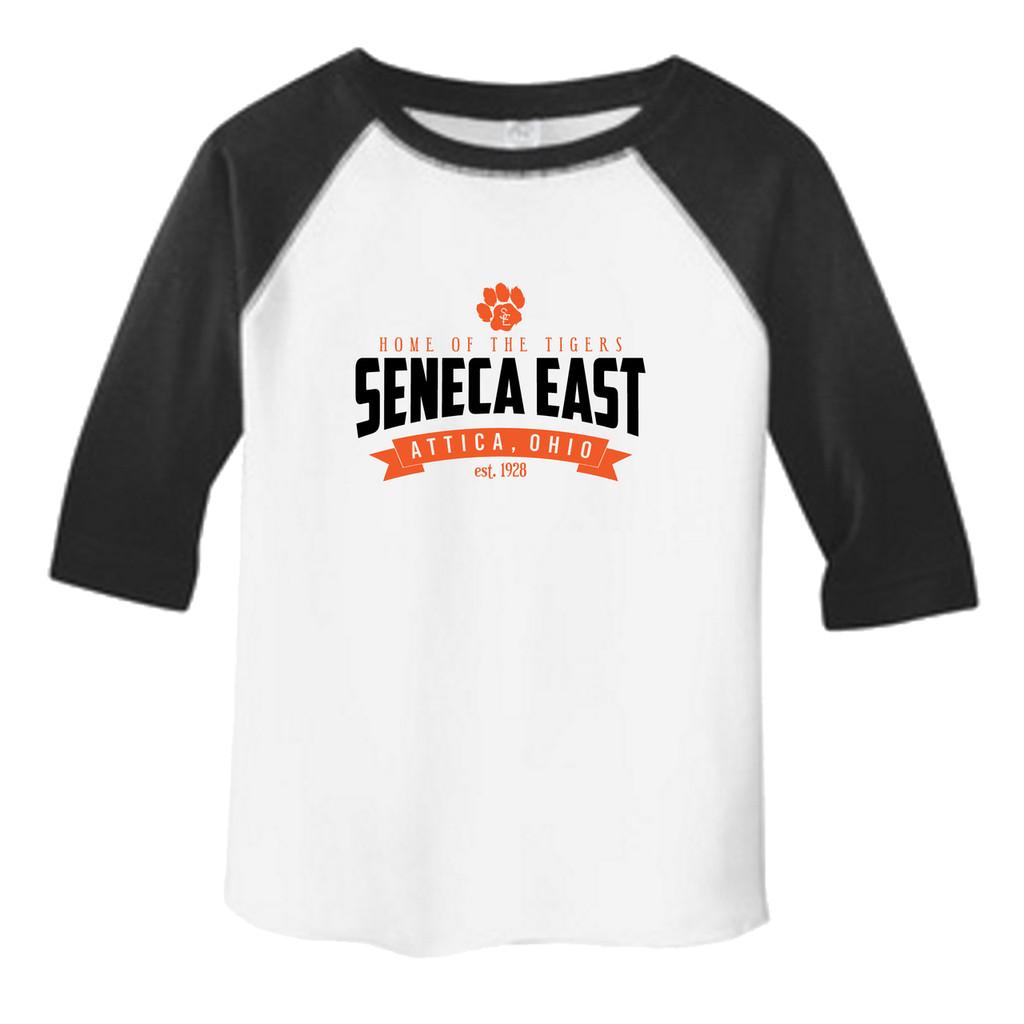 White /  Black Seneca East Home Of The Tigers Toddler Unisex 3/4 Length Sleeve Raglan T-Shirt
