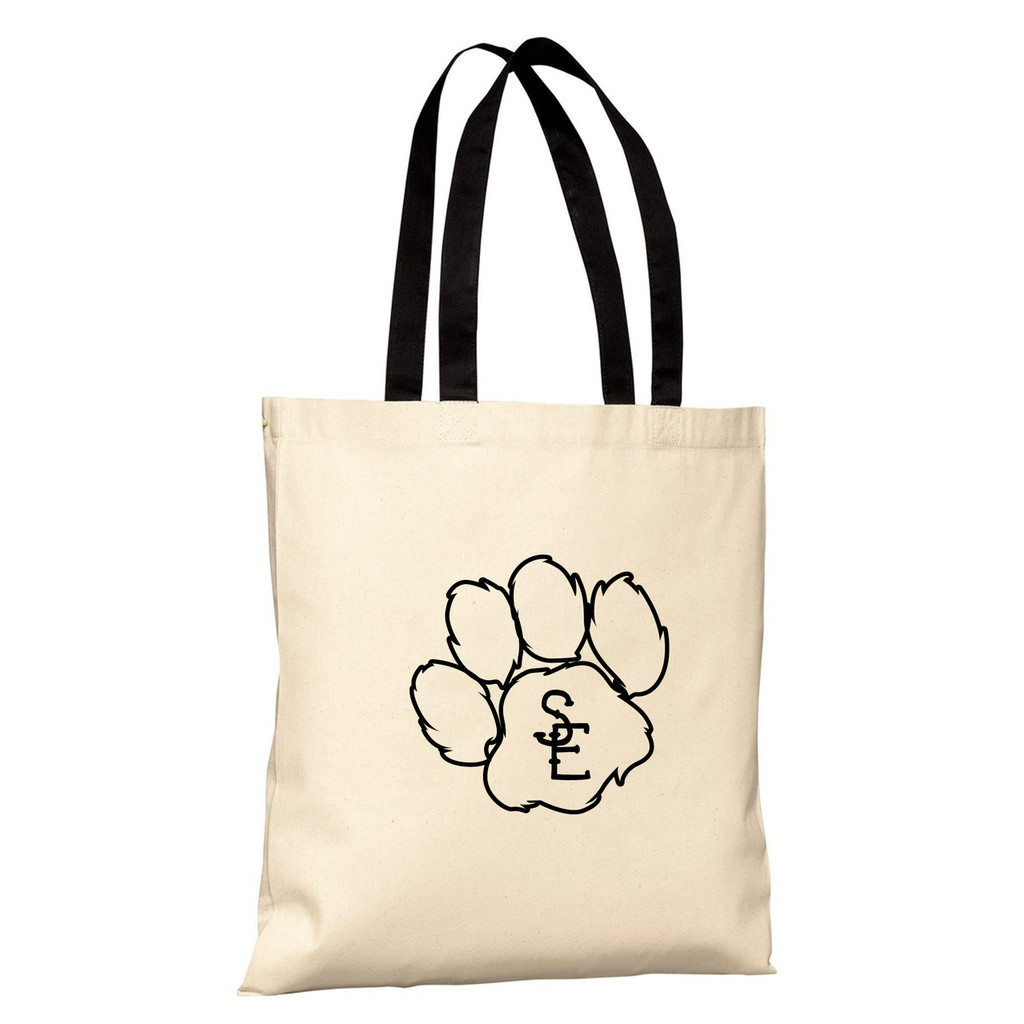 Natural / Black Seneca East Paw Print Basic Tote Bag