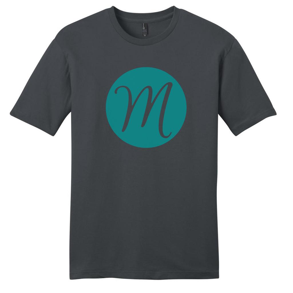 Charcoal Circle Single Monogram T-Shirt