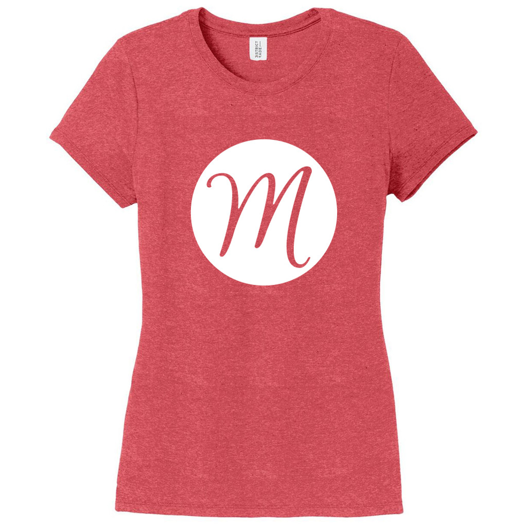 Red Frost Circle Single Monogram Women's Fitted T-Shirt