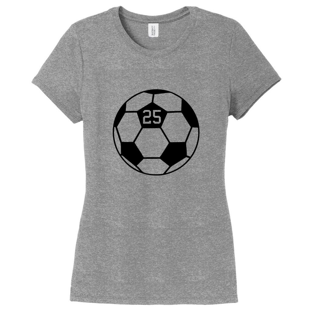 Gray Frost Custom Soccer Ball Women's Fitted T-Shirt