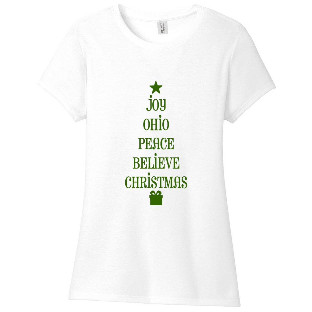 White Ohio Christmas Tree Words Women's Fitted T-Shirt