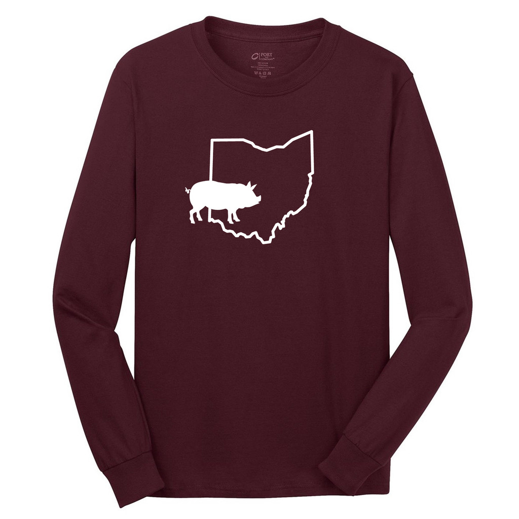 Athletic Maroon Custom State Pig Silhouette Long Sleeve T-Shirt