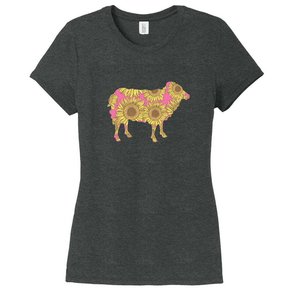 Black Frost - Sunflower Custom Pattern Sheep Silhouette Women's Fitted T-Shirt